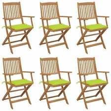 Sedie da Giardino Pieghevoli 6 pz con Cuscini Massello Acacia