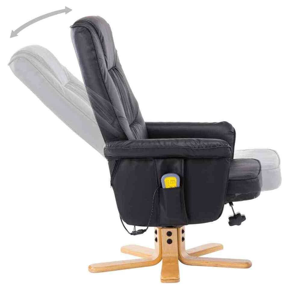 Poltrona Massaggiante Reclinabile e Poggiapiedi Nera Similpelle 6