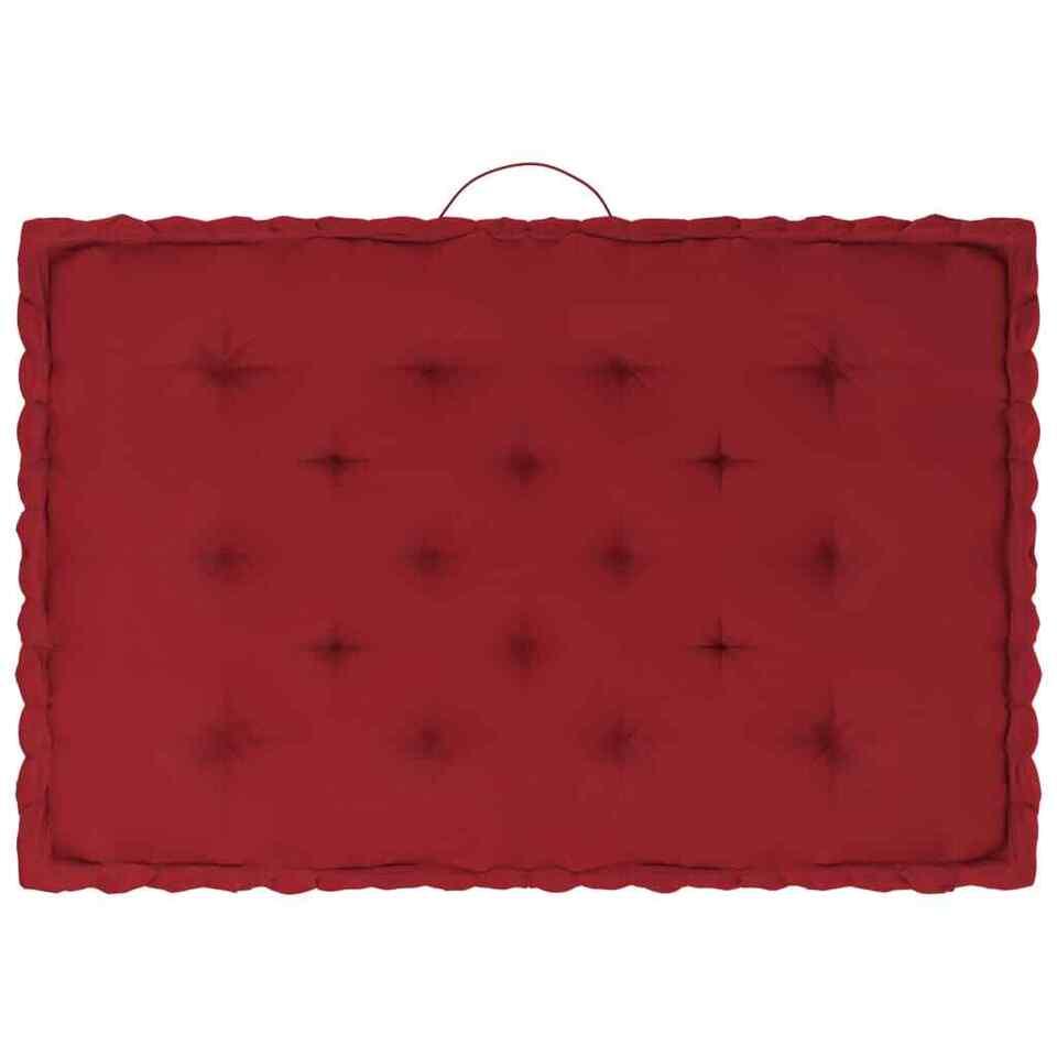 Cuscini per Pallet e Pavimento 7 pz Rosso Borgogna in Cotone 5