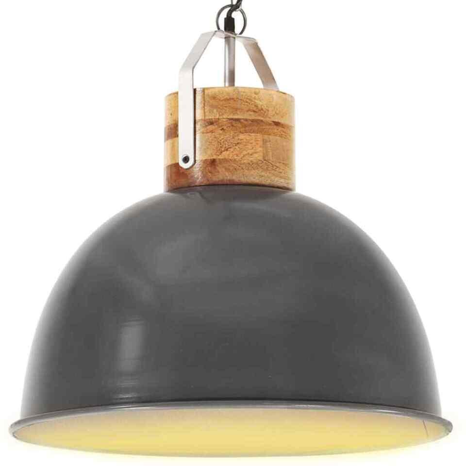 Lampada Soffitto Industriale Grigia Rotonda 51 cm E27 in Mango