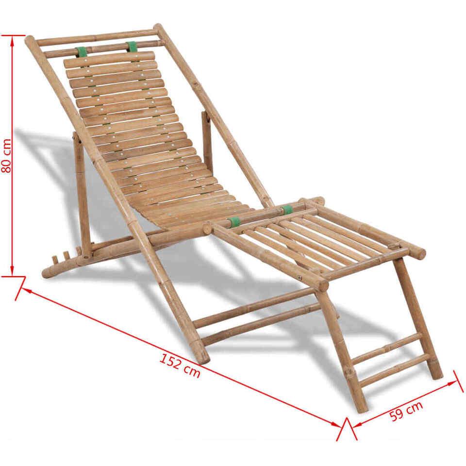 Sedia a Sdraio da Esterno con Poggiapiedi in Bambù 7