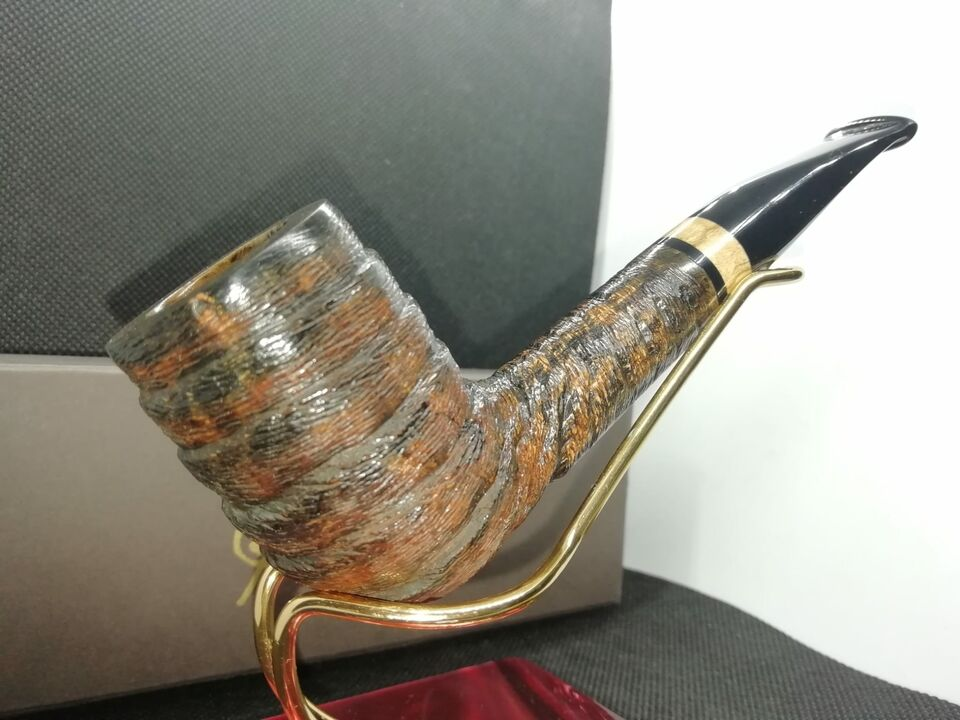 Pipa in radica di erica Billiard rusticata REGALO curapipe