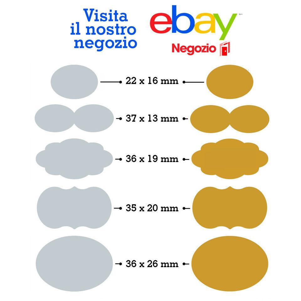 130 Etichette adesive personalizzate bollini (oro - 36x19mm) 2
