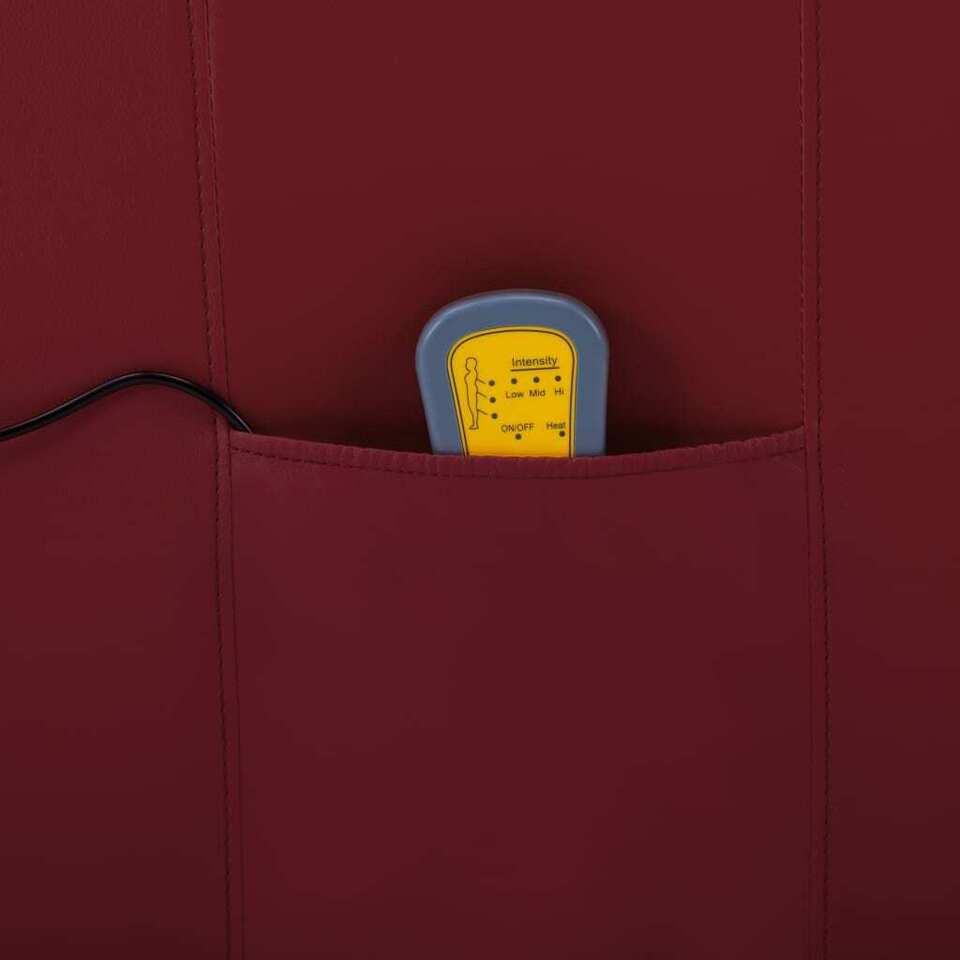 Poltrona Massaggiante Reclinabile Rosso Vino in Similpelle 6