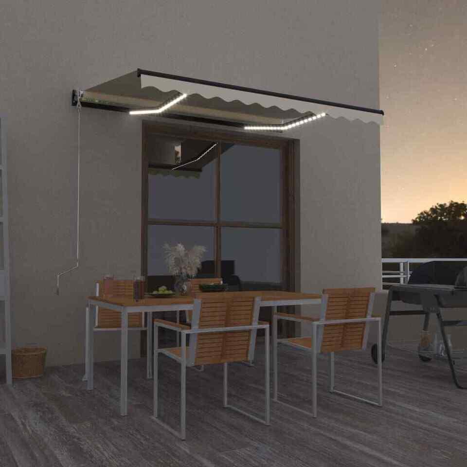Tenda da Sole Retrattile Manuale LED 350x250 cm Gialla e Bianca