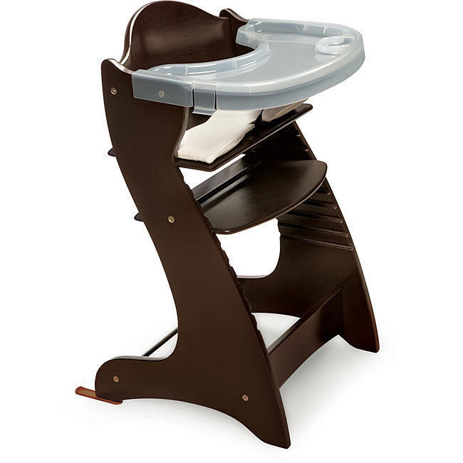 the badger basket embassy wooden high chair grows with the child which makes it good for use during infancy and during the toddler years as the chair is