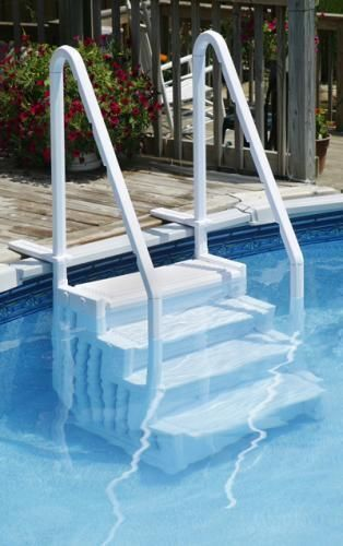 the blue wave easy pool step for above ground swimming pools fits any above ground pool 48 to 54 inches deep deck flanges secure the easy pool step to the