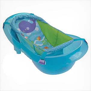 the aquarium bath center is a colorful tub that includes a sling for holding newborns the sling is removable for toddlers and the tubu0027s two ends are