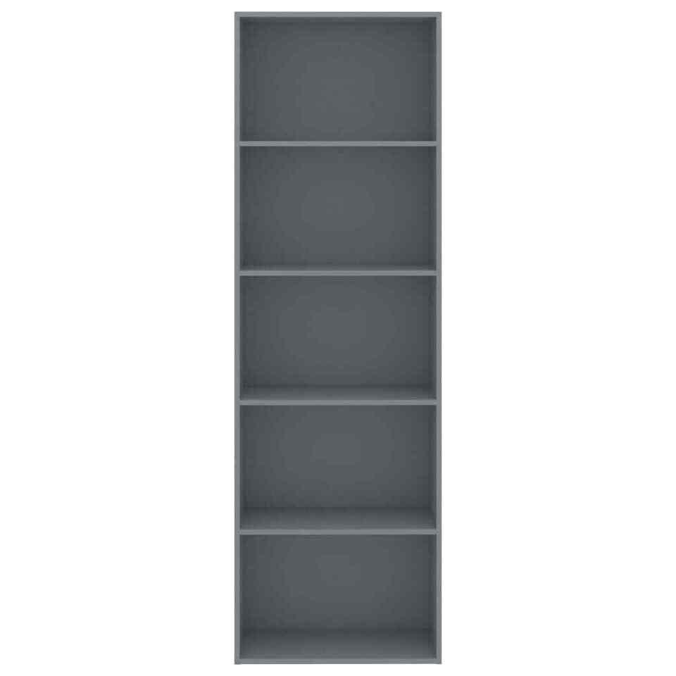 Libreria a 5 Ripiani Grigia 60x30x189 cm in Truciolato 4