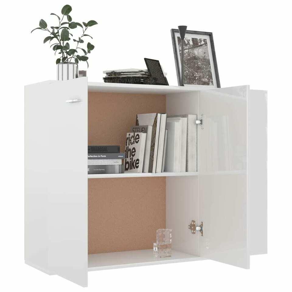 Credenza Bianco Lucido 105x30x75 cm in Truciolato 3
