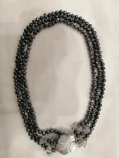 Collana perle vere nere a 3 giri, con madreperla