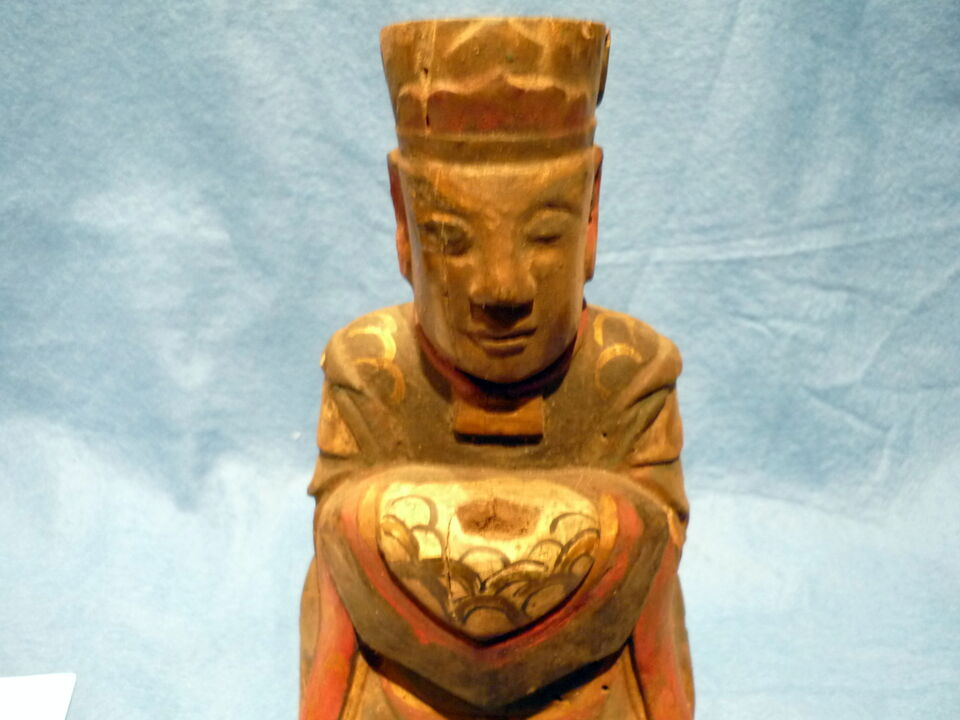 Cina 1850, Chinese Carved Wood Reliquary of Dignitary 6