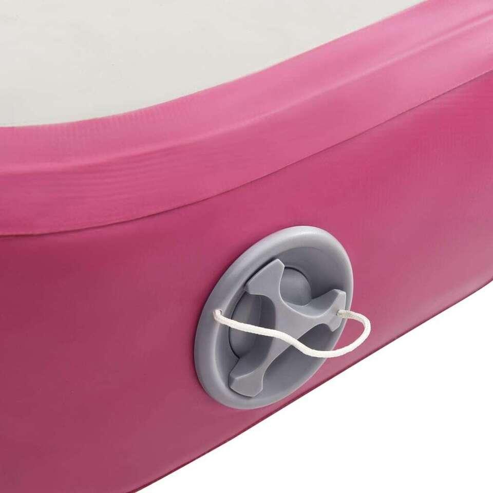 Tappetino Ginnastica Gonfiabile con Pompa 300x100x20cm PVC Rosa 8
