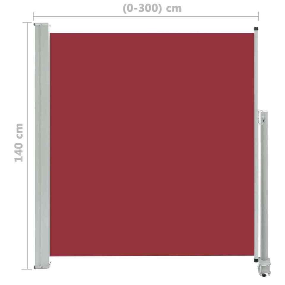 Tenda da Sole Laterale Retrattile per Patio 140x300 cm Rossa 8