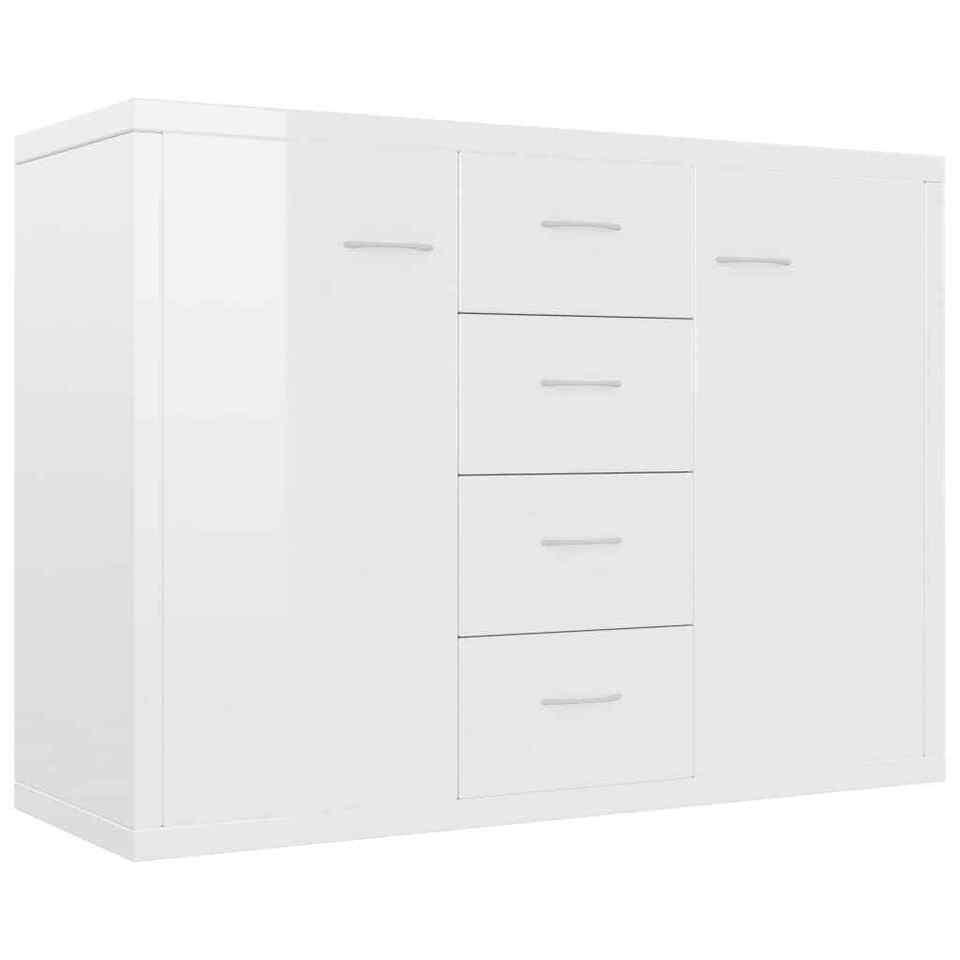 Credenza Bianco Lucido 88x30x65 cm in Truciolato 2