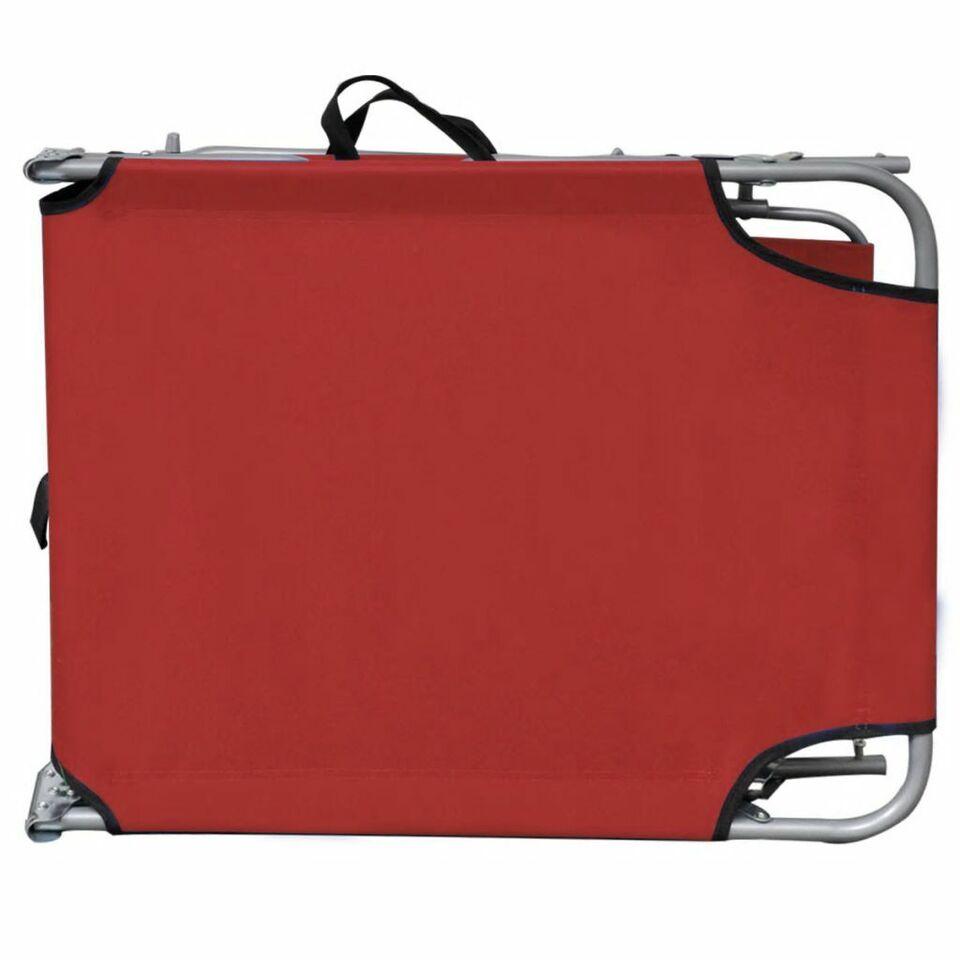 Lettino Prendisole Pieghevole Baldacchino Acciaio Tessuto Rosso 6