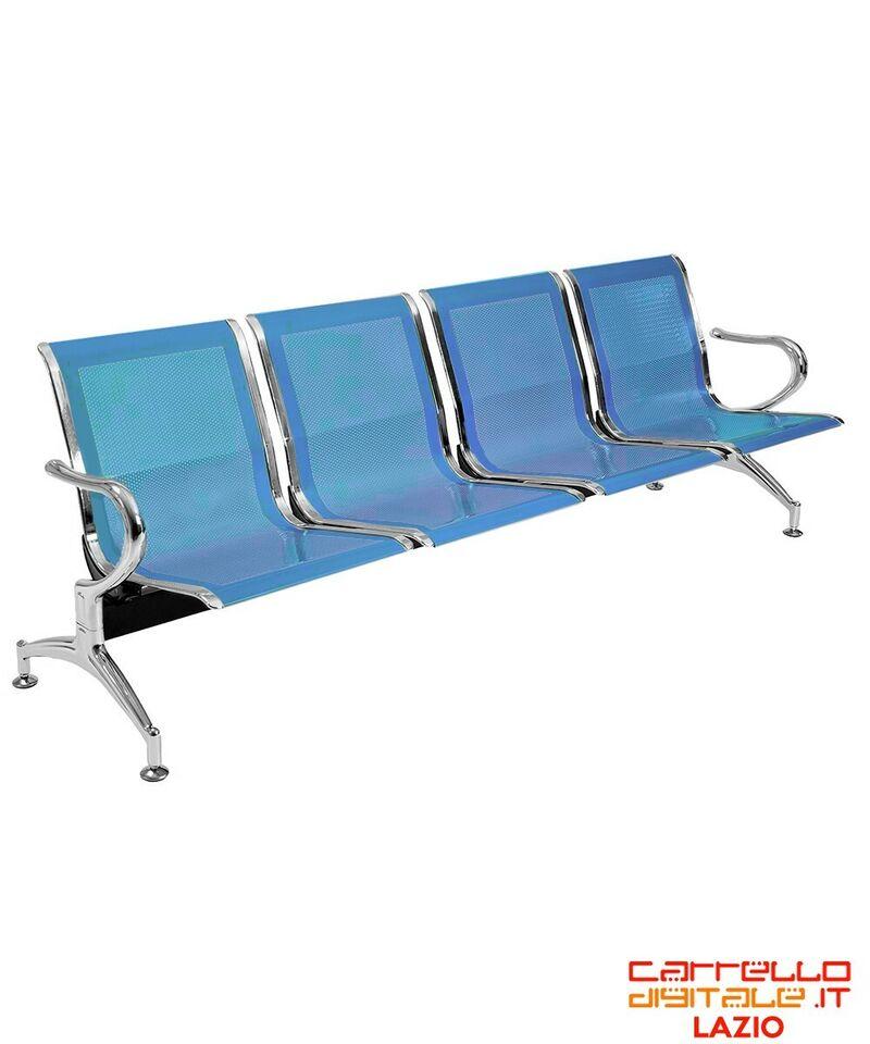 Panca da attesa in acciaio colore blu 4 posti
