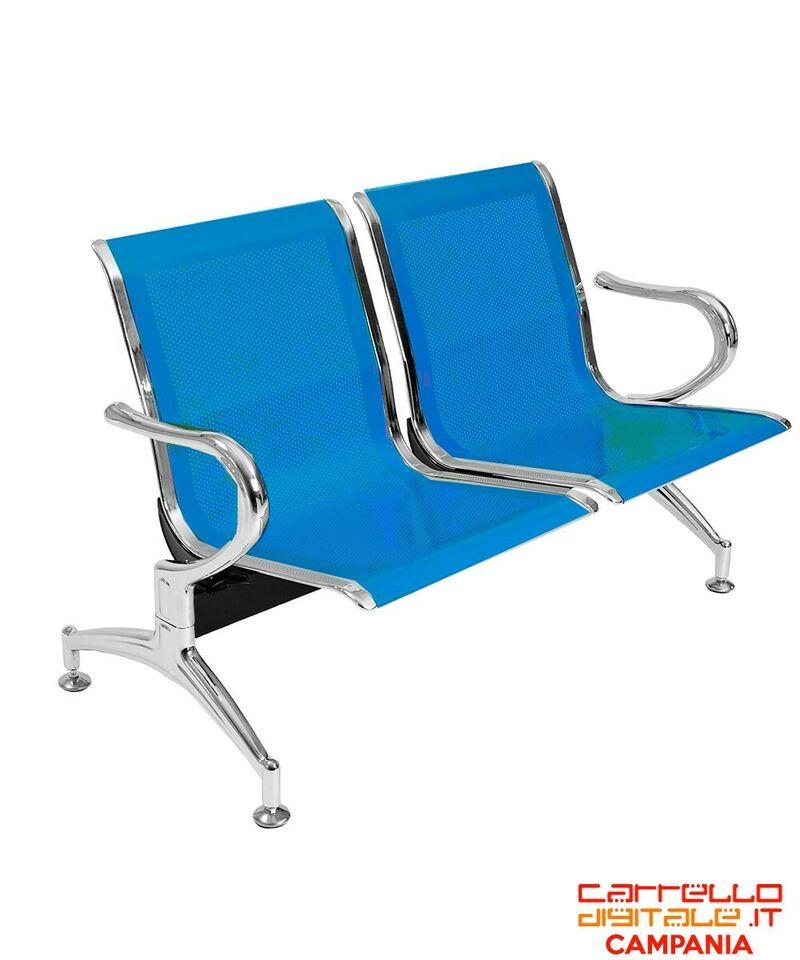 Panca da attesa in acciaio colore blu 2 posti