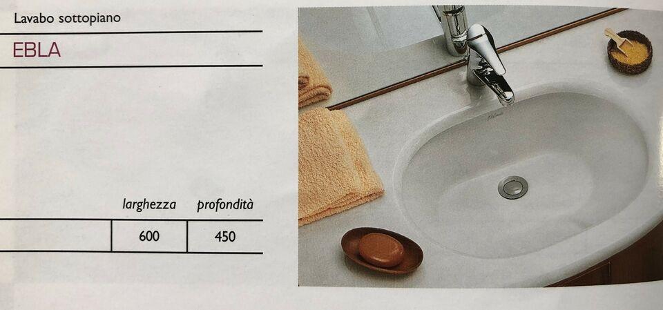 Lavabo incasso sottopiano ebla ceramica dolomite bianco
