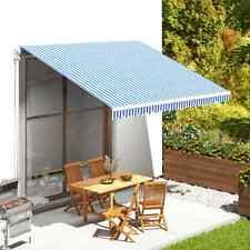 Tessuto di Ricambio per Tenda da Sole Blu e Bianco 4x3,5 m