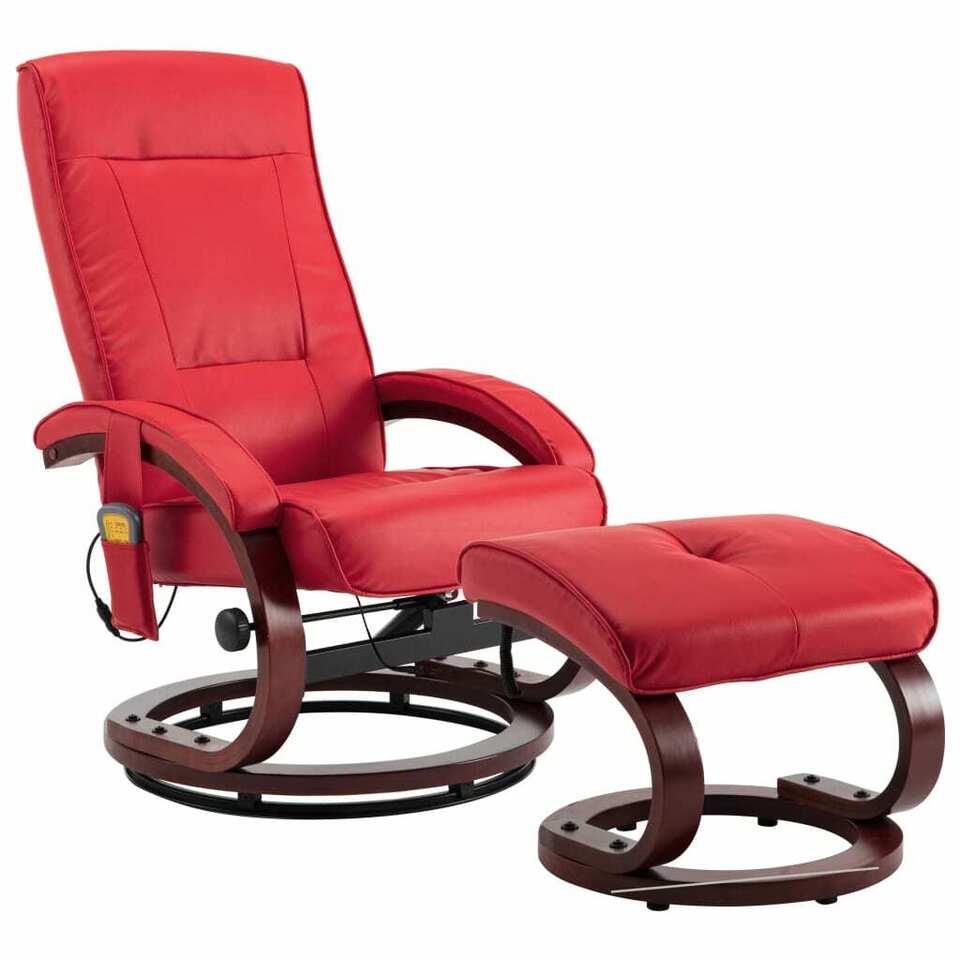 Poltrona Massaggi Reclinabile e Sgabello Rossa Similpelle 2