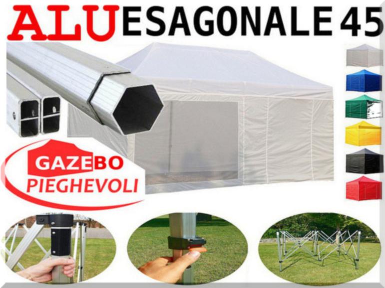 Gazebo 6x3 ALLUMINIO bianco pieghevole fiere stand