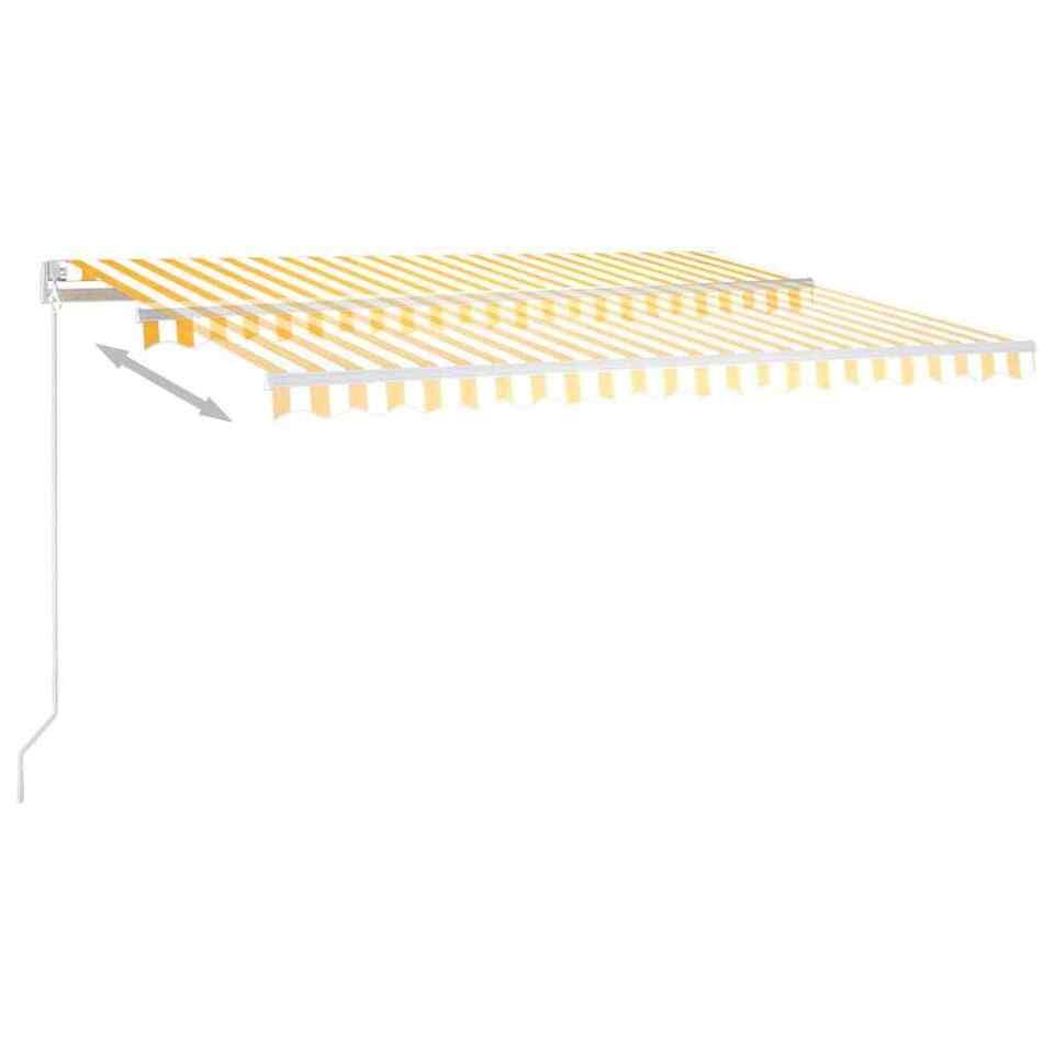 Tenda da Sole Retrattile Manuale LED 400x350 cm Giallo Bianco 3