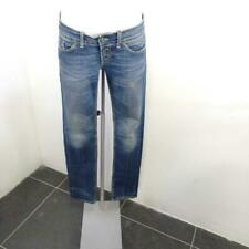 Jeans donna dondup blu cuciture gialle