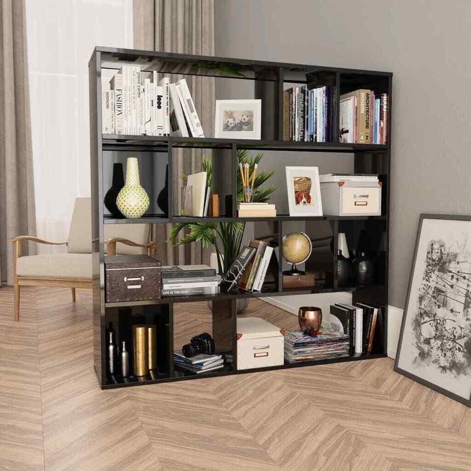 Libreria/Divisorio Grigio Lucido 110x24x110 cm in Truciolato