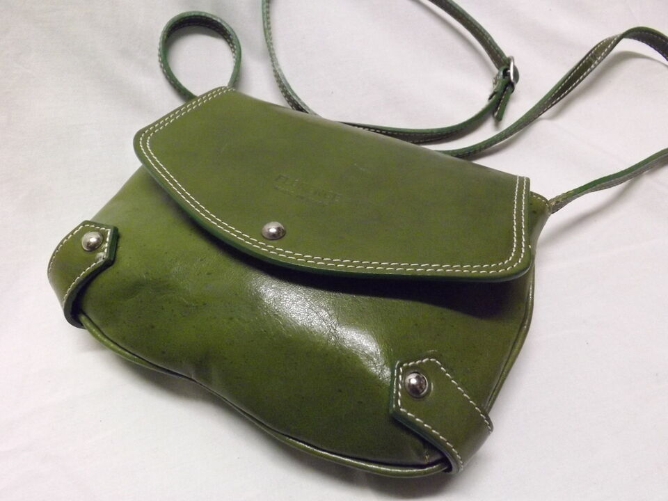 Borsa a tracolla pelle verde genuine leather made in Florence