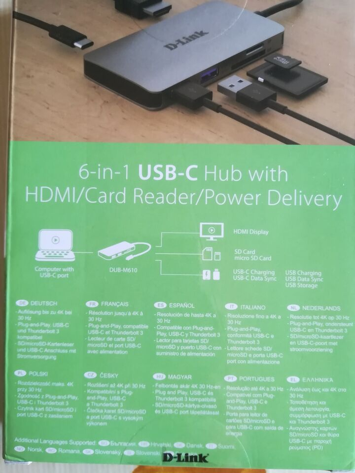 D-Link Hub USB‑C da 6a1 HDMI/Lettore schede/PowerDelivery 2