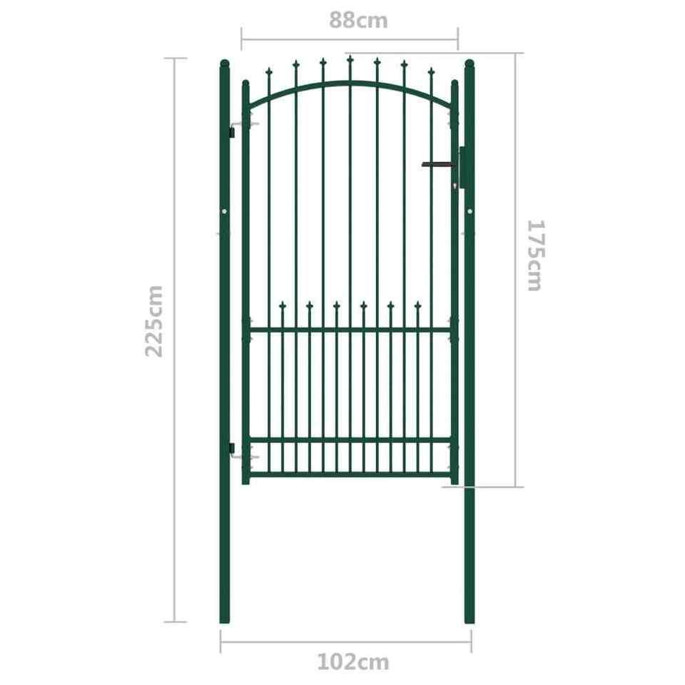 Cancello per Recinzione con Punte in Acciaio 100x175 cm Verde 5