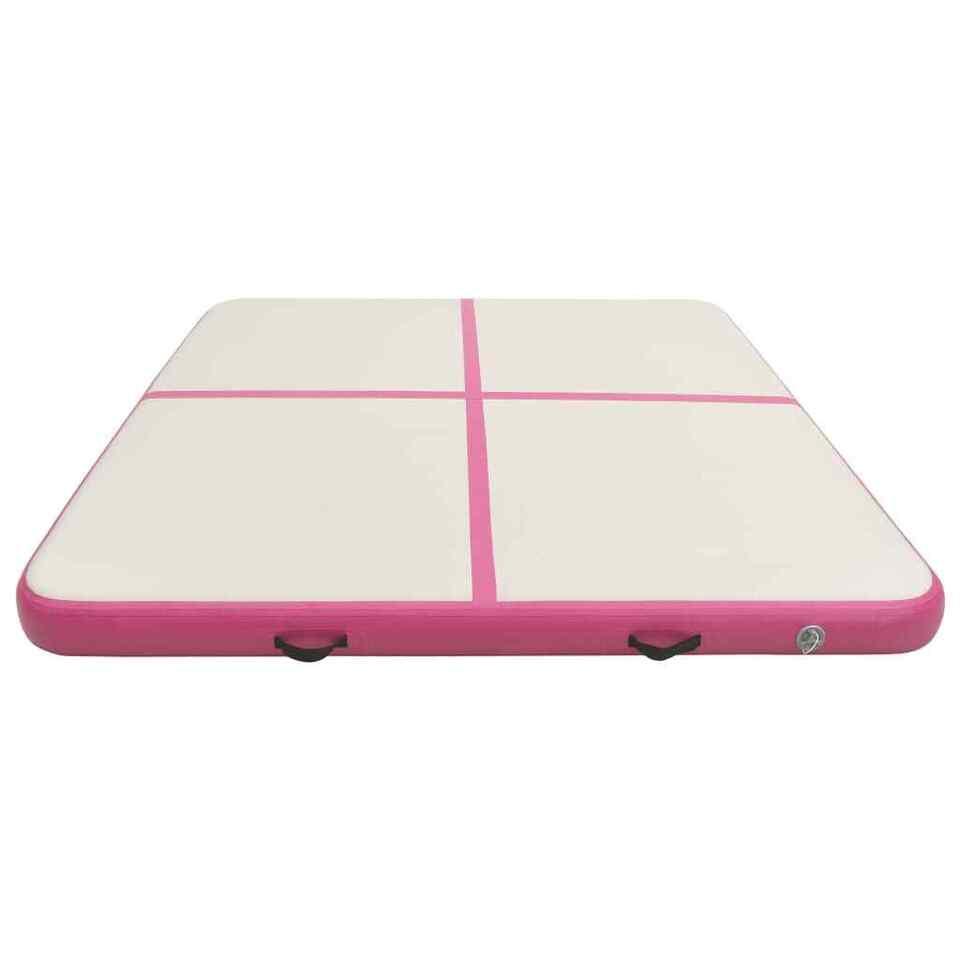 Tappetino Ginnastica Gonfiabile con Pompa 200x200x20cm PVC Rosa 4