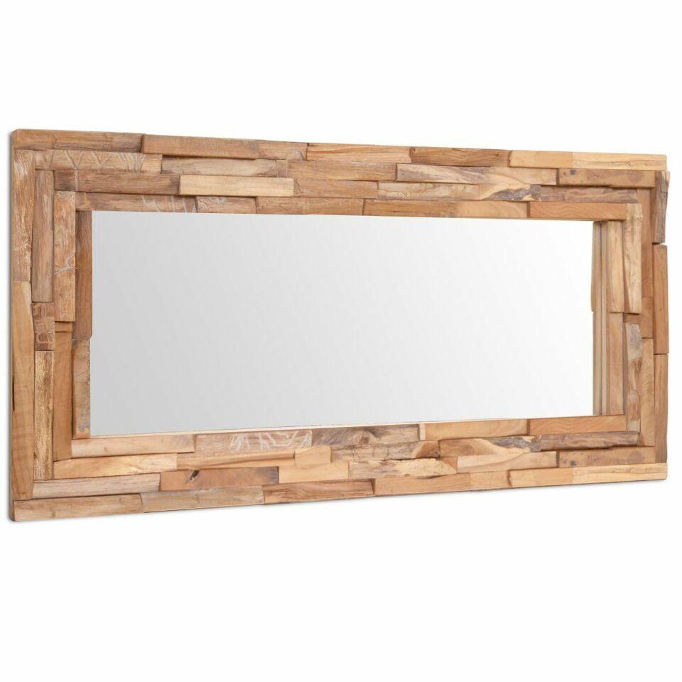 Specchio Decorativo in Legno di Teak 120x60 cm Rettangolare 3