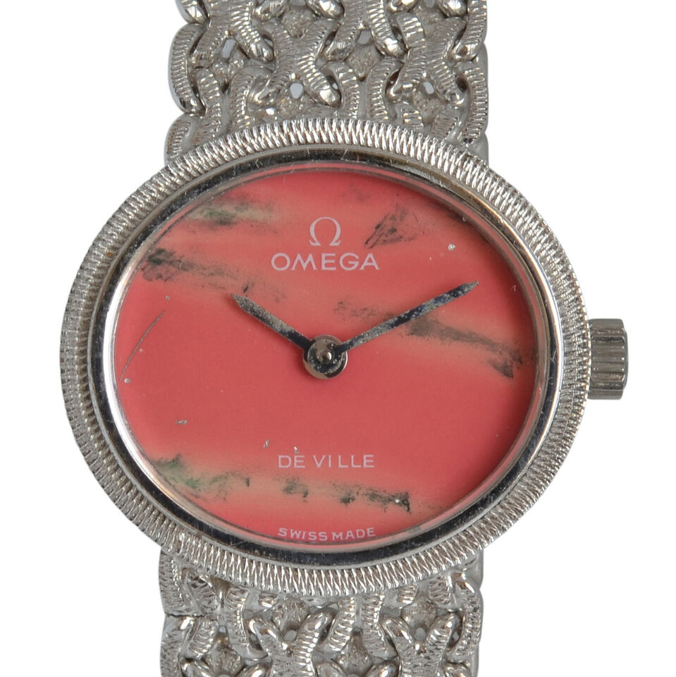 OMEGA De Ville Lady jewel watch Pink Stone dial white gold 1970 8