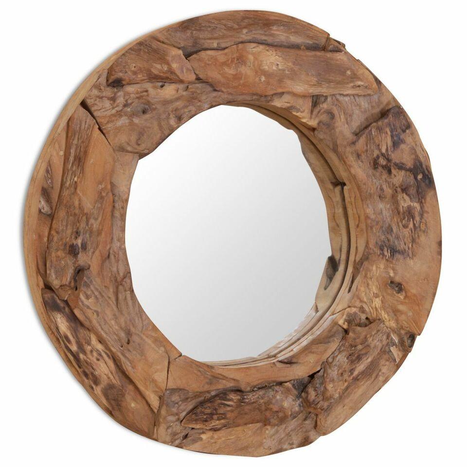 Specchio Decorativo in Legno di Teak 60 cm Rotondo 4