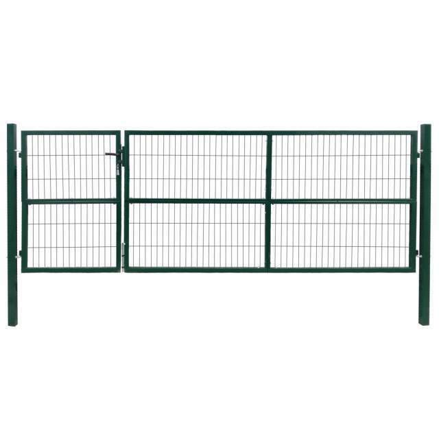 VidaXL Cancello di Recinzione con Paletti 350x120 cm in Acciaio Verde 5