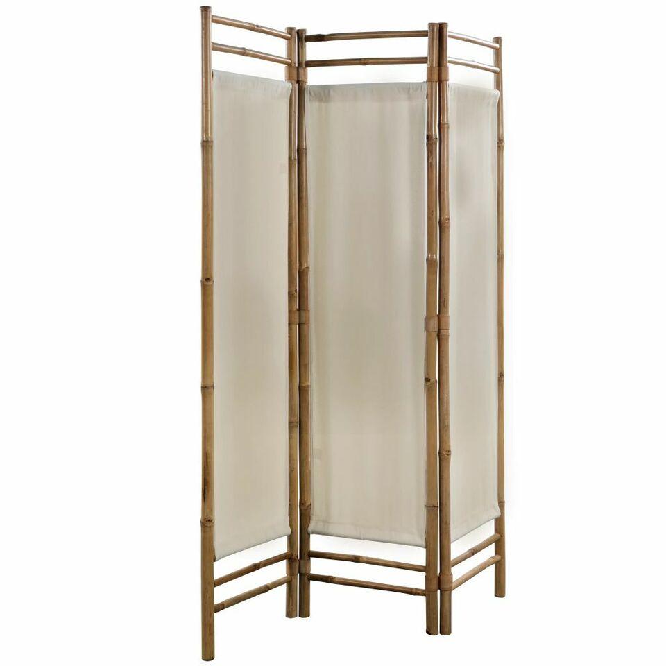 Paravento Pieghevole a 3 Pannelli in Bambù e Tela 120 cm 3