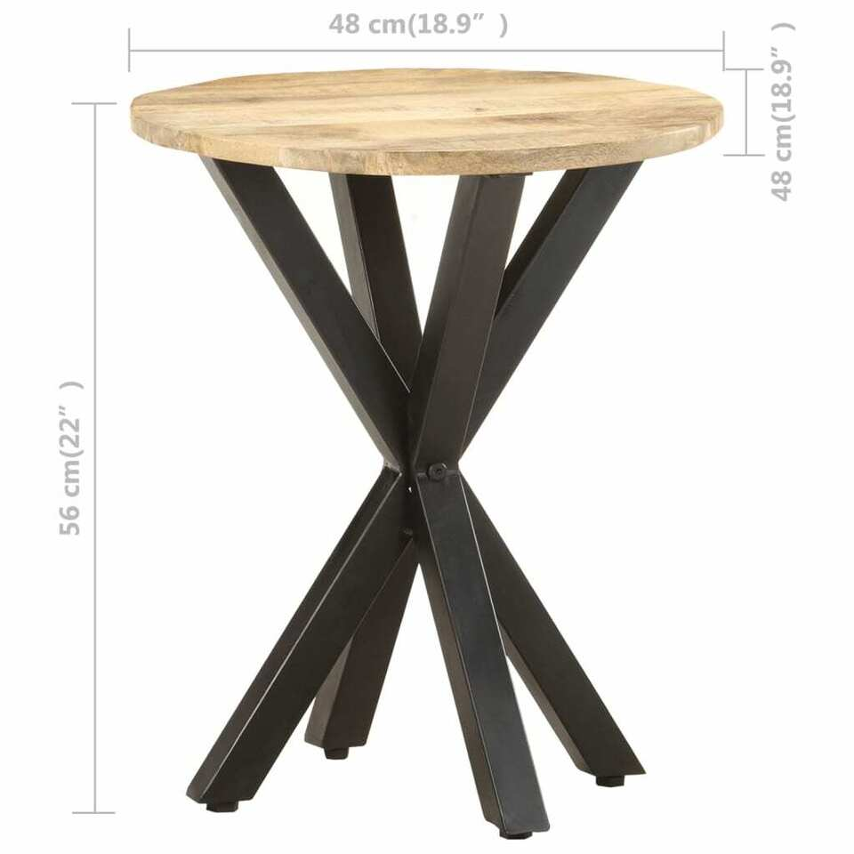 Tavolino di Servizio 48x48x56cm in Legno Massello di Mango 6