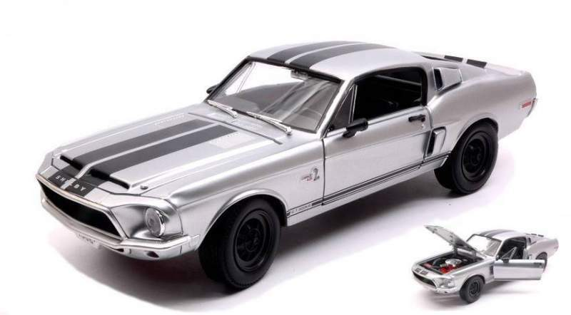 Hot wheels ldc92168chr shelby mustang gt-500 kr 1968 silver w/black st