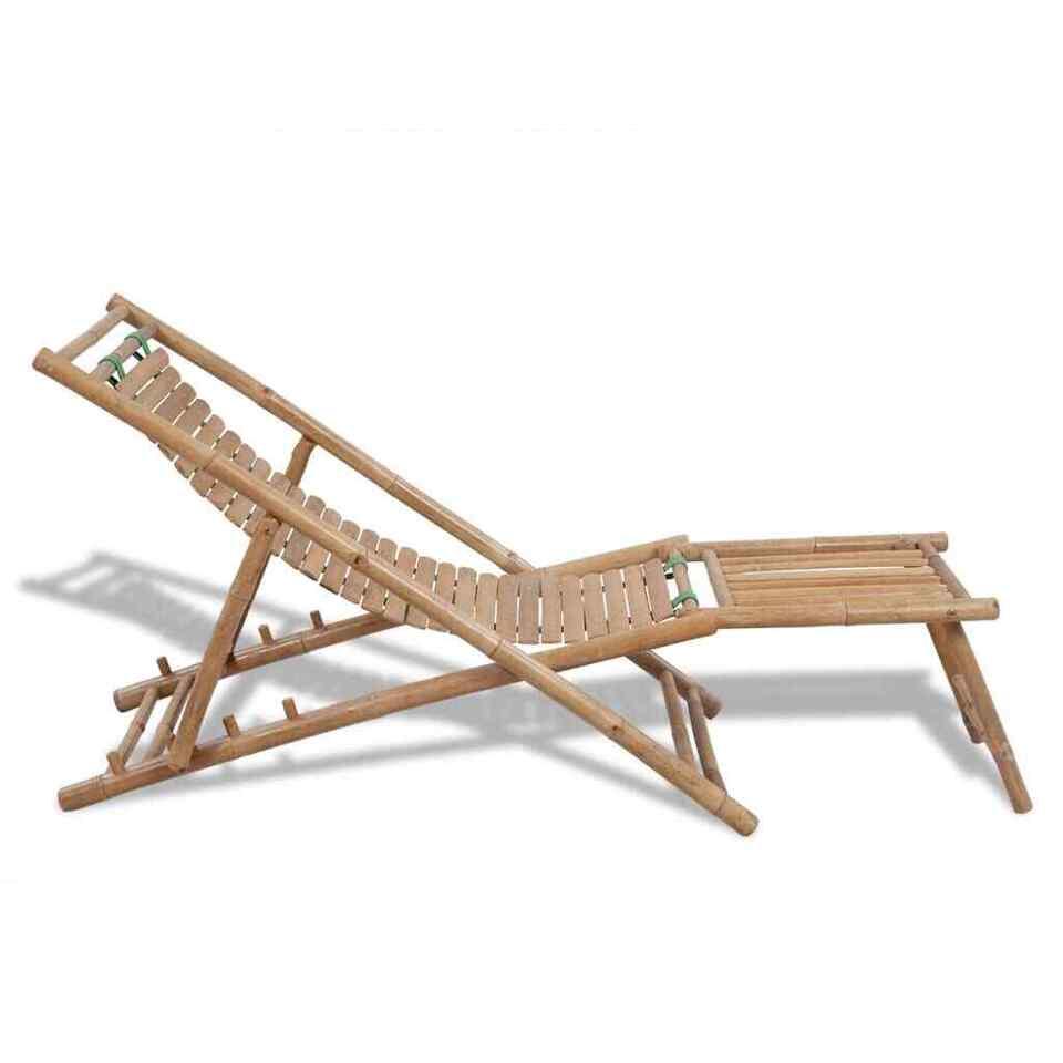 Sedia a Sdraio da Esterno con Poggiapiedi in Bambù 3