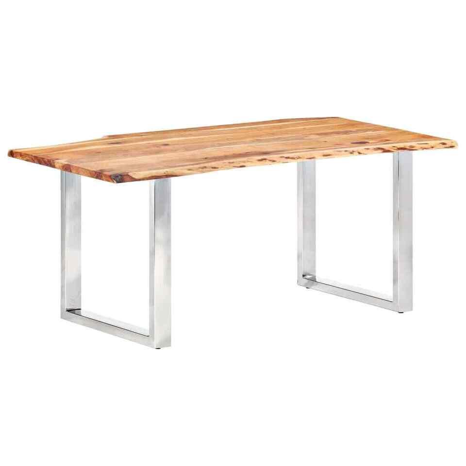 Tavolo da Pranzo con Bordi Vivi Massello di Acacia 200 cm 3,8cm