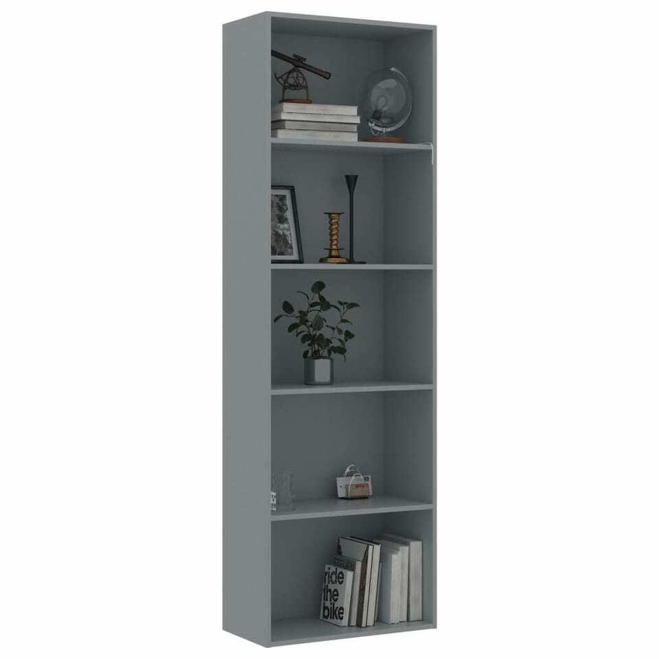 Libreria a 5 Ripiani Grigia 60x30x189 cm in Truciolato 3