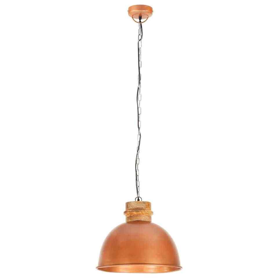 Lampada Soffitto Industriale Rame Rotonda 50 cm E27 Legno Mango 5