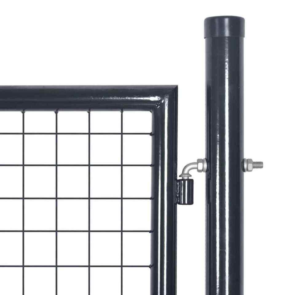 Cancello per Giardino Rete in Acciaio Zincato 85,5x100cm Grigio 3