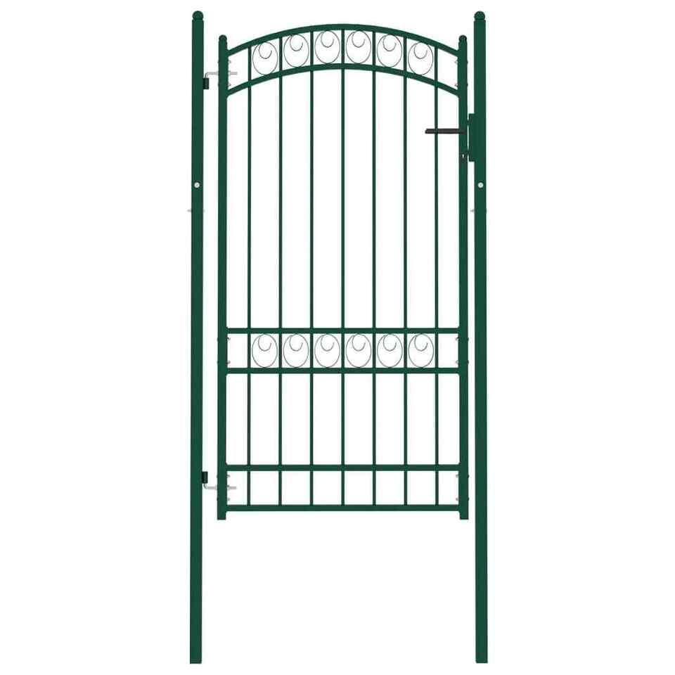 Cancello per Recinzione ad Arco in Acciaio 100x175 cm Verde
