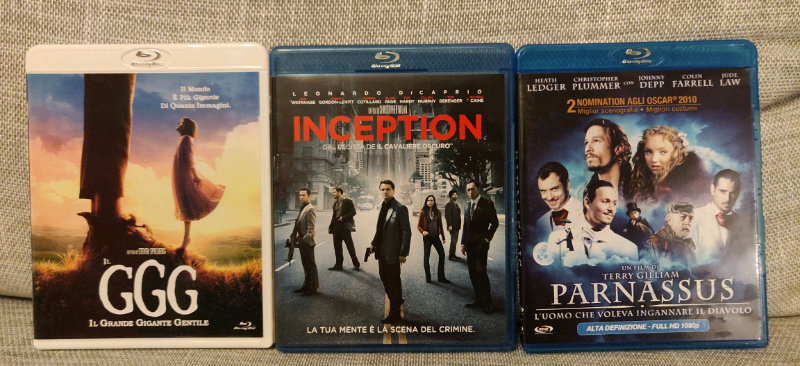 Blu Ray di Nolan, Spielberg e Gilliam