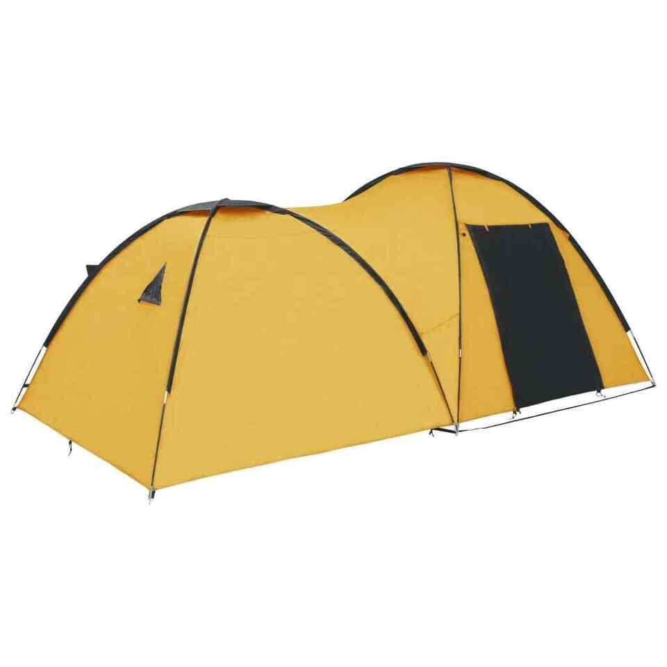 Tenda Igloo da Campeggio 450x240x190 cm per 4 Persone Gialla