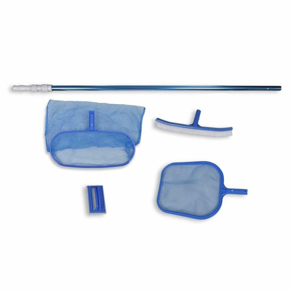 Set pulizia piscina spazzola 2 schiumatoi foglie 1 palo telescopico 2
