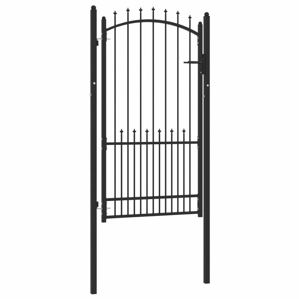 Cancello per Recinzione con Punte in Acciaio 100x175 cm Nero 2